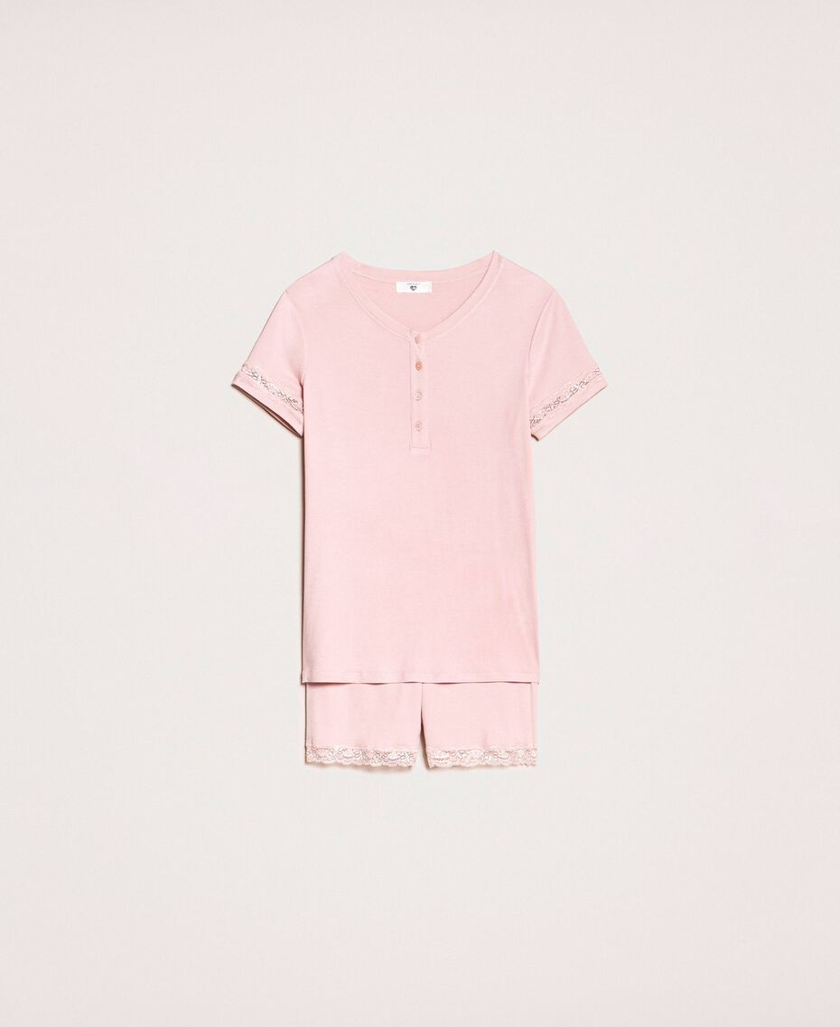 """Short ribbed pyjamas with lace """"Peachskin"""" Pink Woman 201LL25EE-0S"""