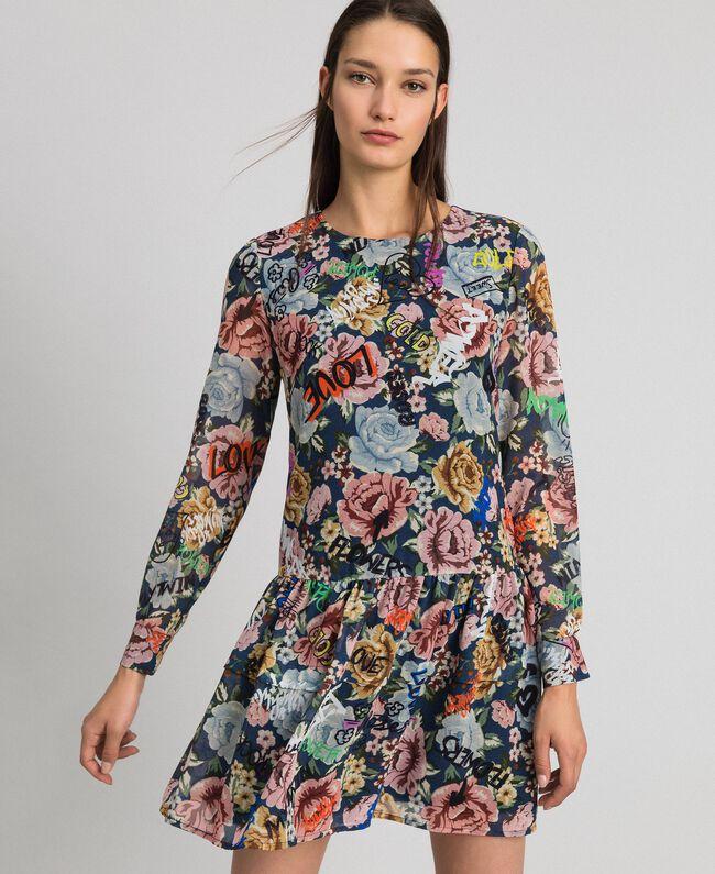 Robe avec imprimé floral et graffiti Imprimé Graffiti Fleur Bleu Femme 192MP222K-01