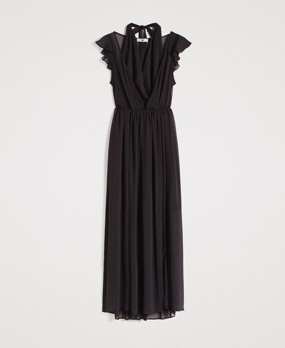 Robe longue en crépon Noir Femme 191LB21HH-0S