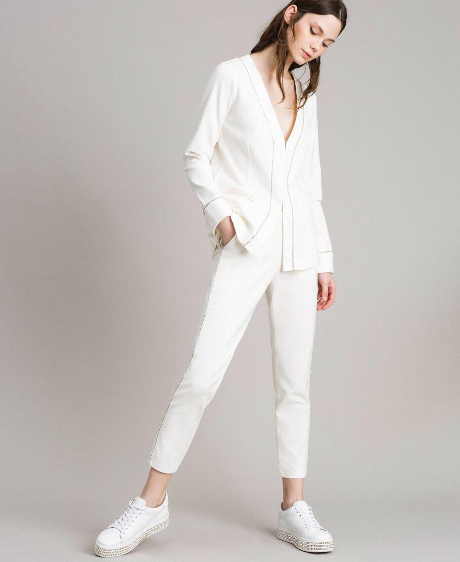 Pantalon cigarette strassé Blanc Femme 191LB22KK-02