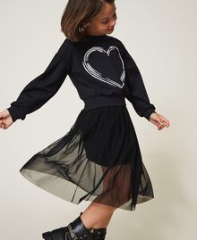 Scuba sweatshirt with heart Black Child 202GJ2702-02