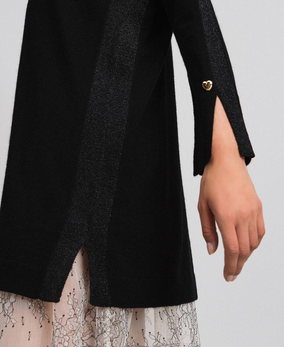 Kleid mit Lurexstreifen und Unterkleid Schwarz Frau 192MP3100-05