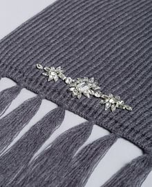 Knitted scarf with bezels Medium Gray Mélange Woman SA8F91-02