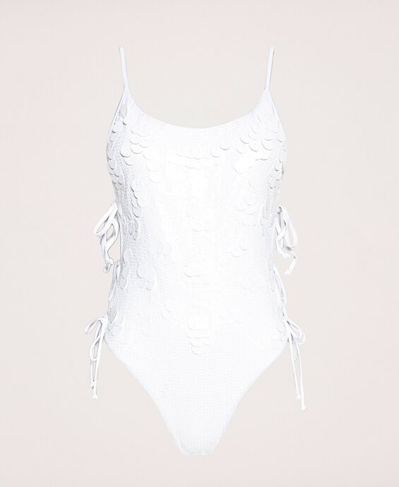 One-piece swimsuit with sequin embroidery