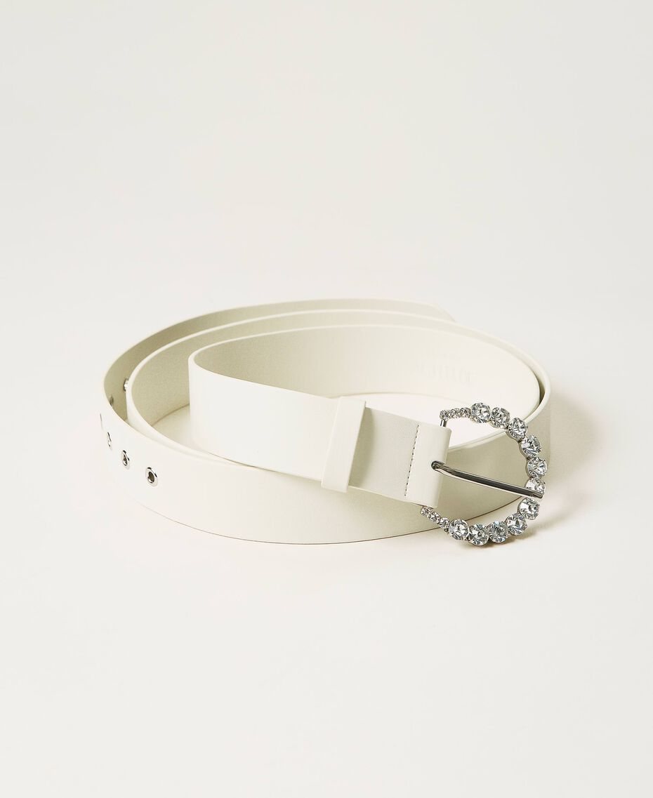 Cinturón de doble vuelta con strass Blanco Vainilla Mujer 211MO5300-02