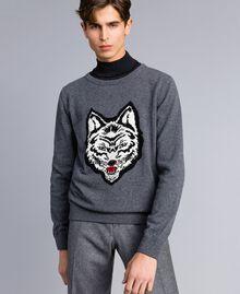Pull en laine mélangée Gris moyen chiné Homme UA83H1-01