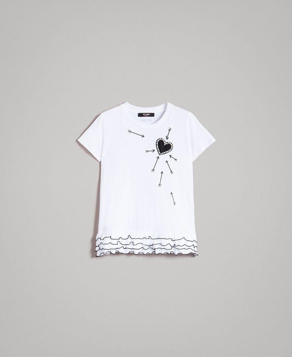 T-shirt avec imprimé et volants Crème White Femme 191MP206D-0S