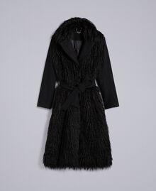 Cappotto lungo in panno e similpelliccia Nero Donna TA82A5-0S