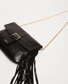 Leather shoulder bag with fringes Black Woman 201TO8142-03