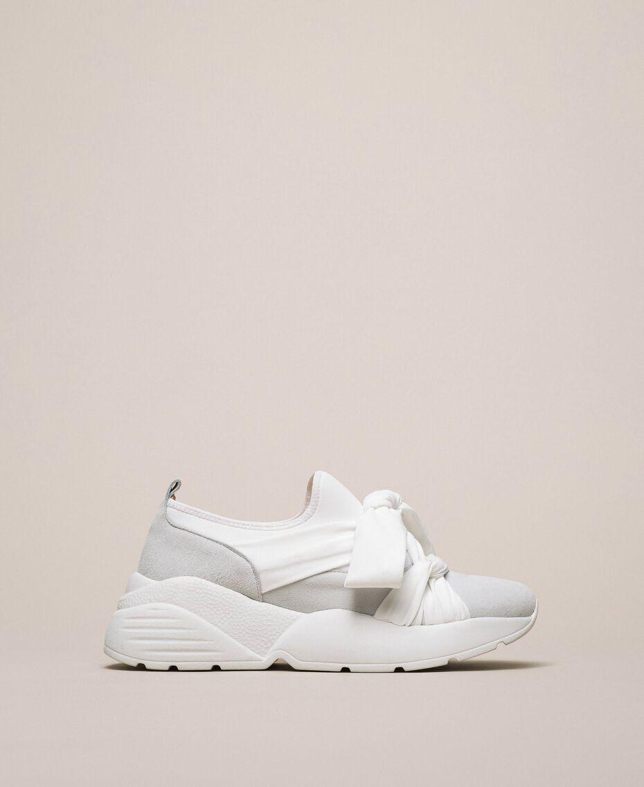 Textilsneakers mit Knoten Weiß Frau 201TCT110-01
