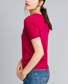 "Wool and cashmere jumper with lace ""Azalea"" Fuchsia Woman TA83AK-02"