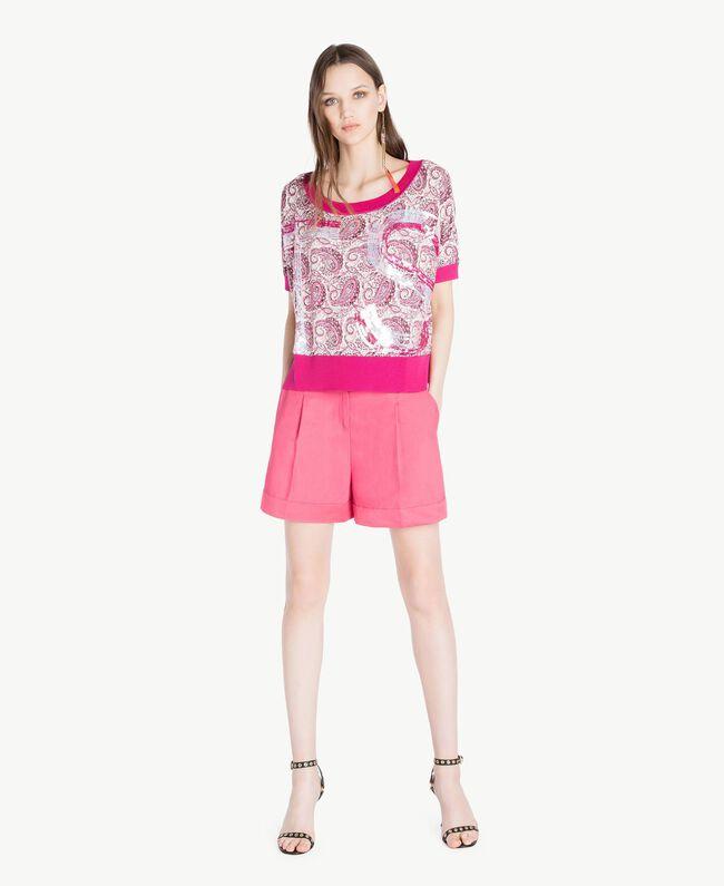 Sequin maxi jumper Pink Macro Paisley Print Woman TS83DC-05