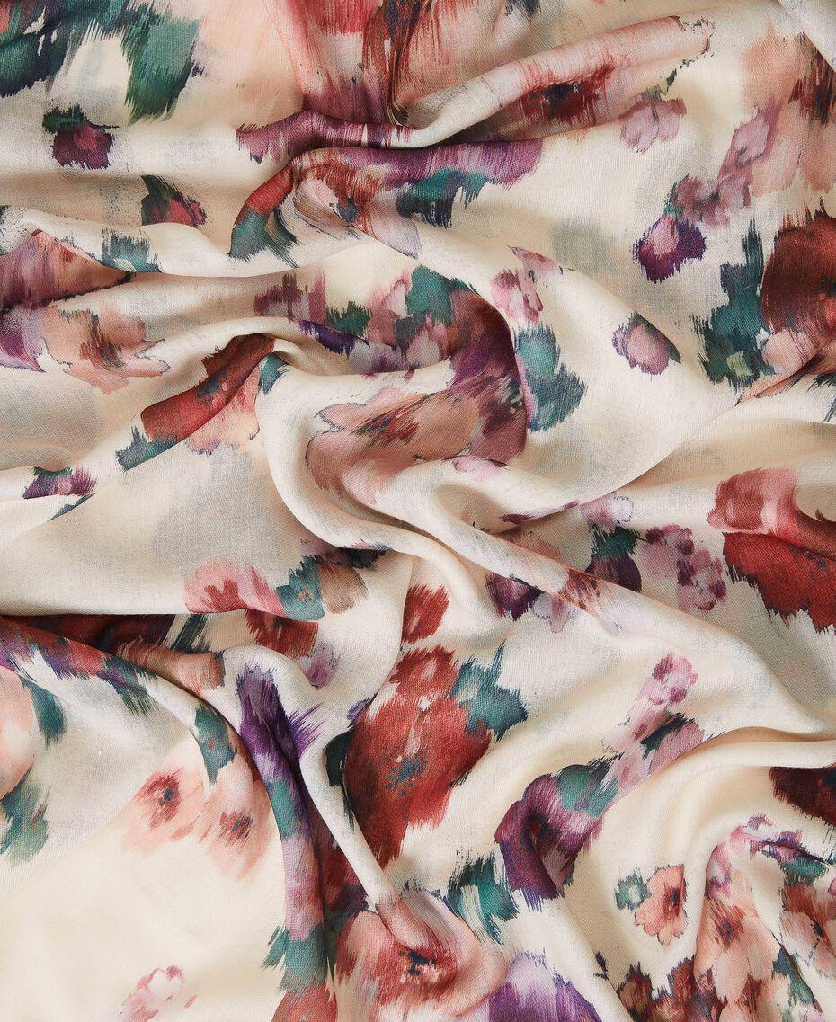 Schal mit Blumenprint Blumenprint Elfenbein Frau 202TO510K-02