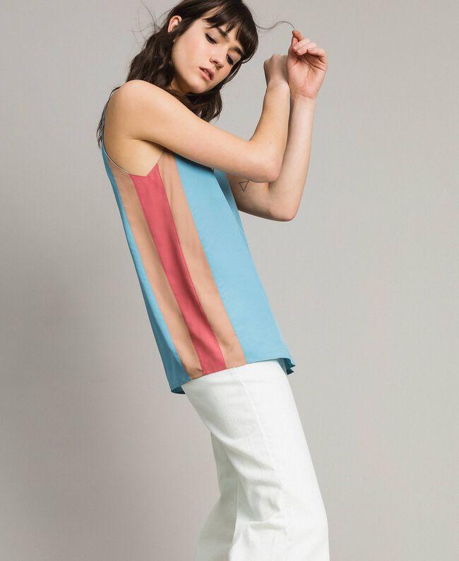 """Top avec découpes multicolores Multicolore Rose """"Rose Tendre"""" / Bleu Lumière du Jour / Beige Porcelaine Femme 191LM2HJJ-01"""
