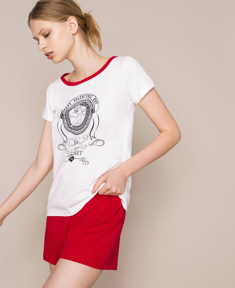 """Printed short pyjamas Two-tone Ivory / """"Pomegranate"""" Red Woman 201LL23EE-02"""