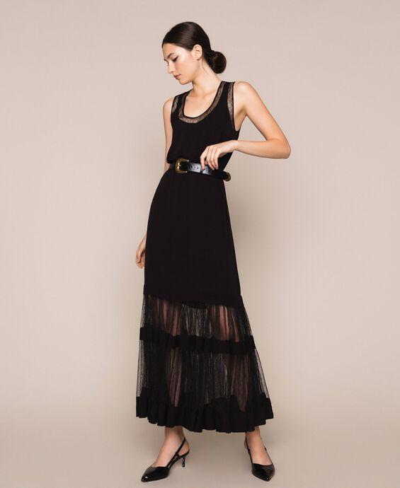 Full-length plumetis tulle dress