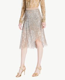 All over sequin skirt Dark Silver Woman TS82EB-02