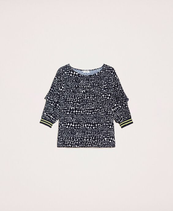 Blouse with heart motif print