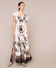 Printed satin long dress Black Unevenly Dyed Print Woman 201LB2GMM-02