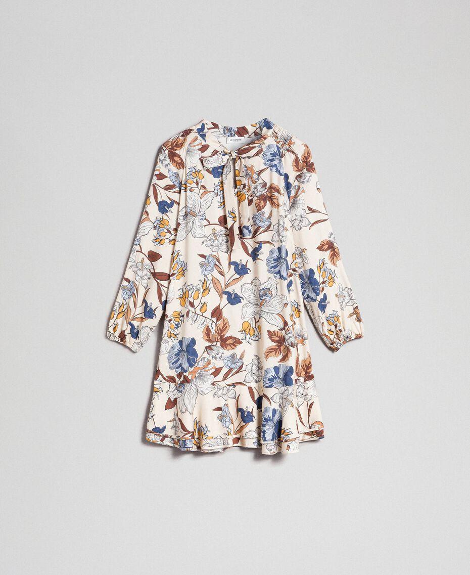 Robe avec imprimé floral Imprimé Fleurs d'Automne Crème Femme 192ST2220-0S