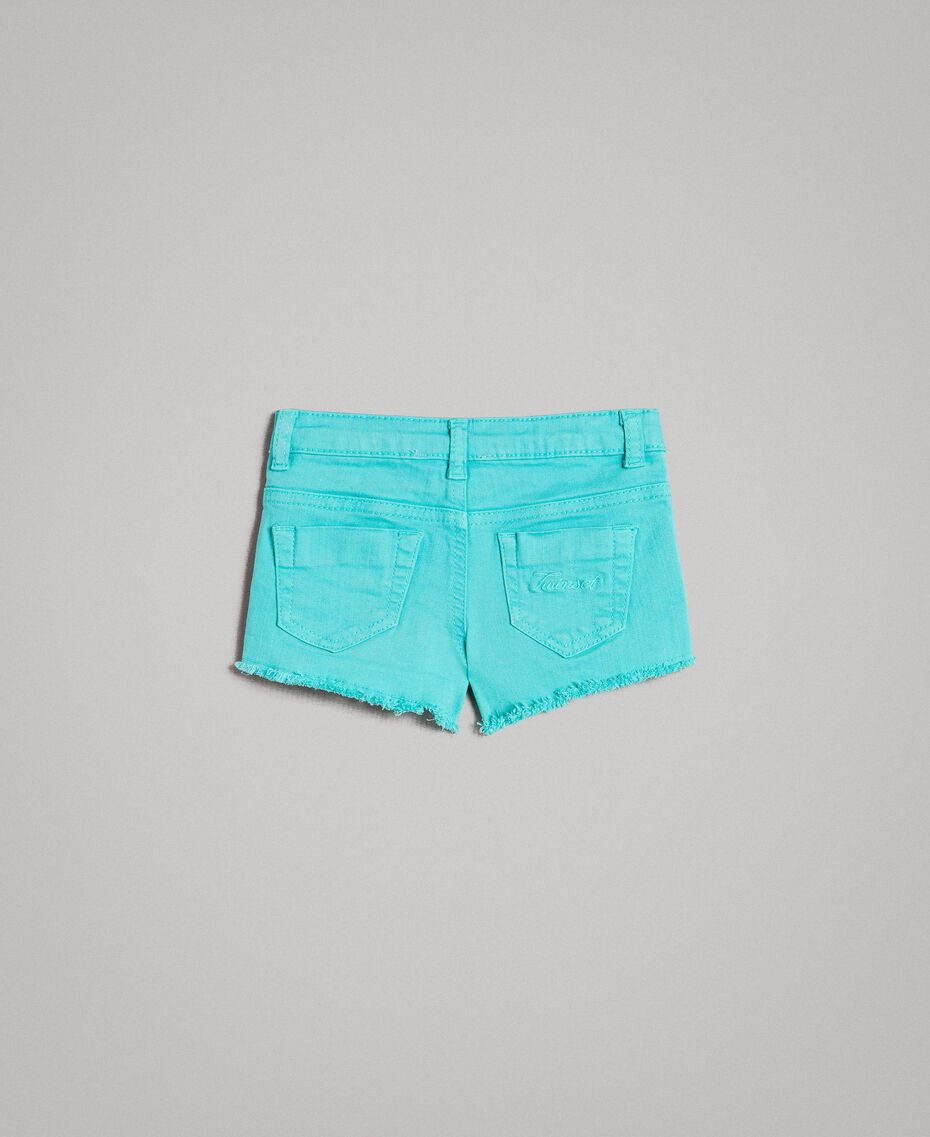 """Stretch bull shorts with lace """"Island Paradise"""" Light Blue Child 191GB2060-0S"""