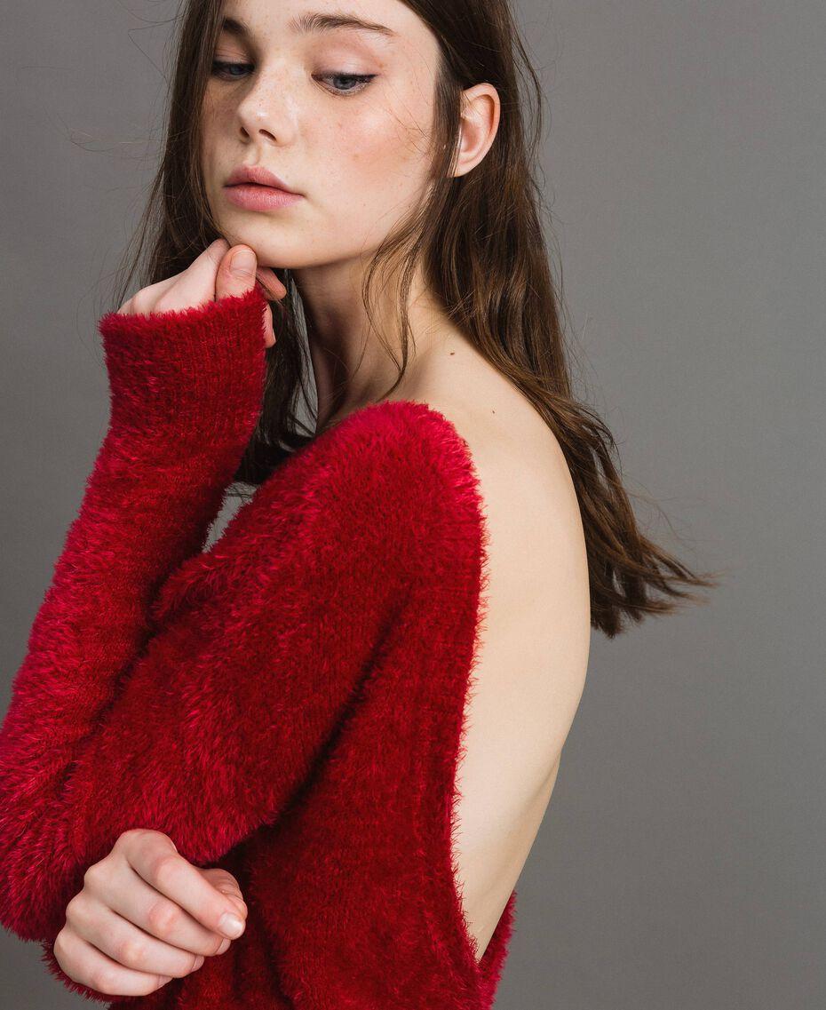 Fur stitch jumper Black Woman 191TP3421-01