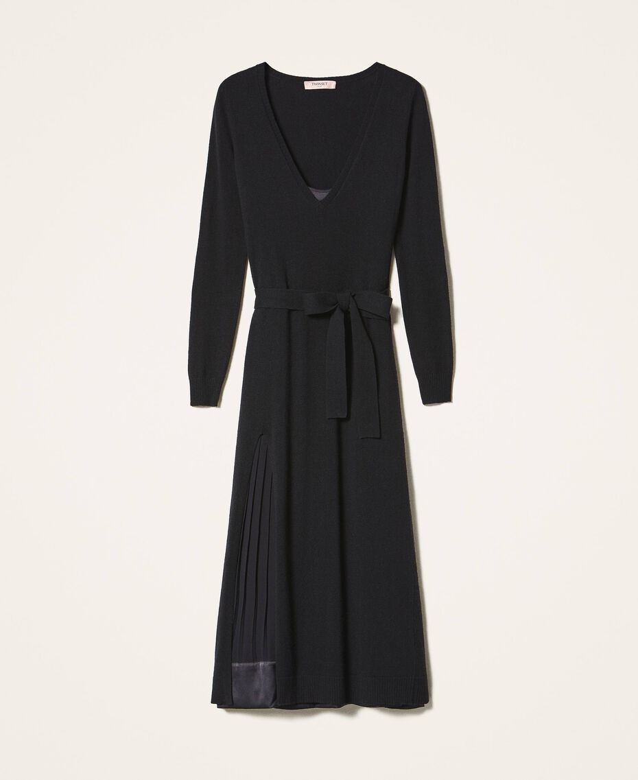 Robe en laine mélangée avec fond de robe Noir Femme 202TT3053-0S