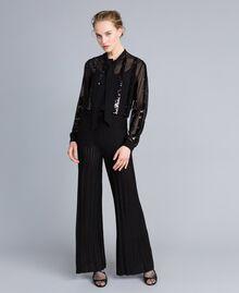 Pantalon large en maille plissée lurex Noir Lurex Femme PA83CE-04