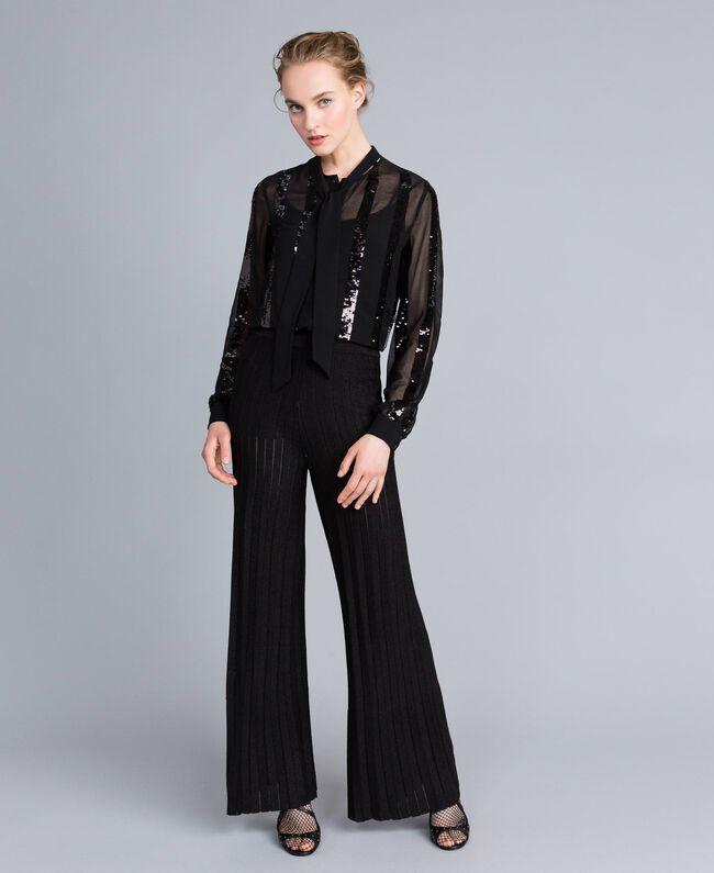Pantaloni ampi in maglia plissé lurex Nero Lurex Donna PA83CE-04