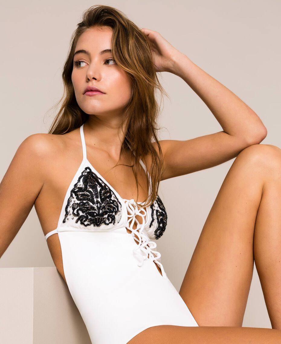 One-piece swimsuit with embroidery Ivory Woman 201LBM500-01