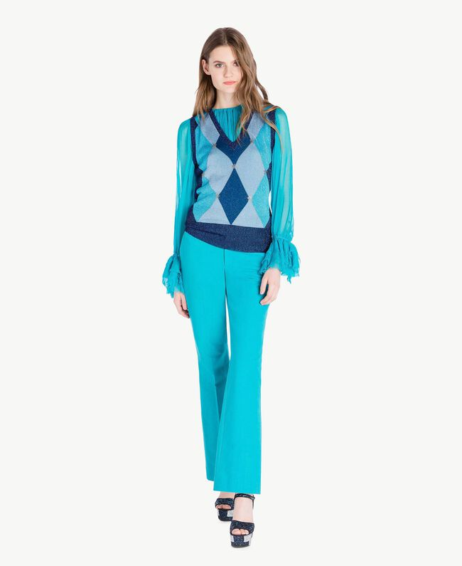 Blouse soie Turquoise Femme PS8221-05