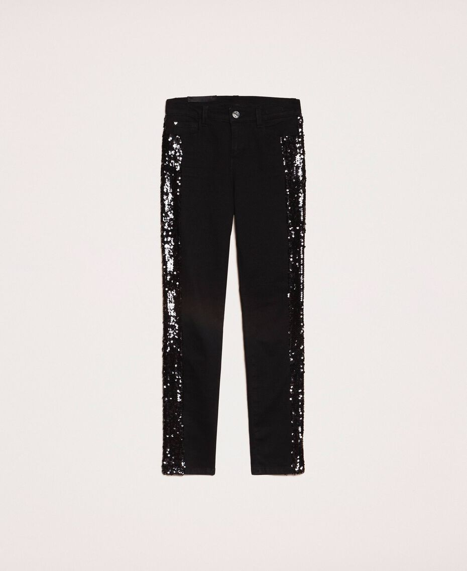 Push up jeans with sequins Black Denim Woman 201MP2261-0S