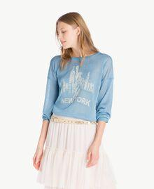 Pullover aus Lurex Lurex Orientblau Frau PS83Y2-01