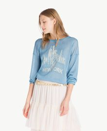 Lurex knit top Oriental Blue Lurex Woman PS83Y2-01