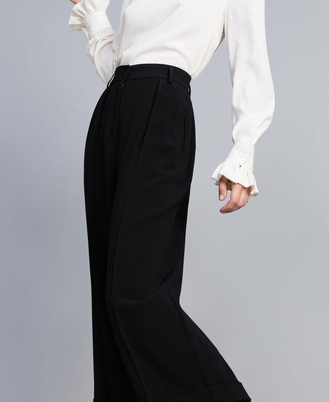 Envers satin cropped trousers Black Woman TA824K-04