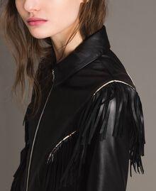 Blouson en cuir à franges Noir Femme 191TT2170-05