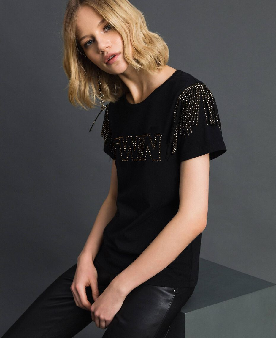 Flocked logo T-shirt with studs and fringes Black Woman 192MP2450-01