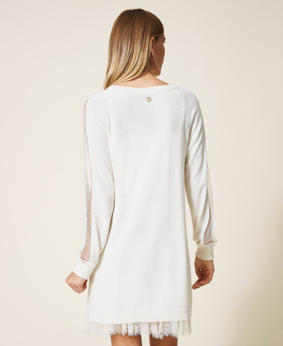 Платье из полушерсти с нижней комбинацией Белый Снег женщина 202TT3132-03