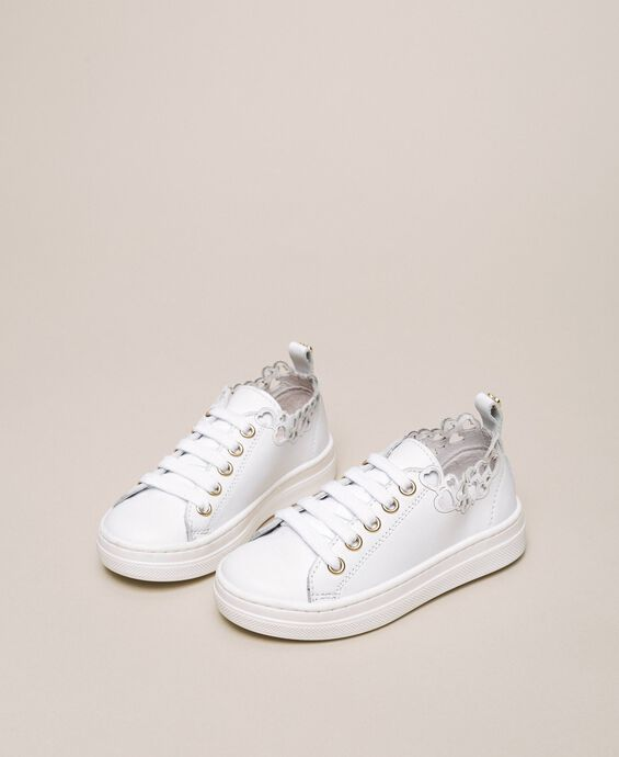 Nappa leather trainers with embroidery