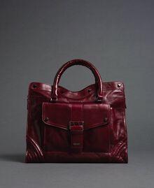 Sac cabas en cuir effet craquelé Rouge Betterave Femme 192TA7235-02