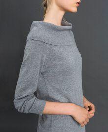 Robe en cachemire mélangé avec fonde robe en dentelle Gris Moyen Chiné / Noir Femme 192TT3091-02