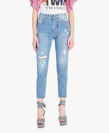 Jeans mit hoher Taille Denimblau Frau JS82WN-01