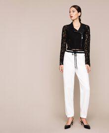 Macramé lace biker jacket Black Woman 201MP2231-0T