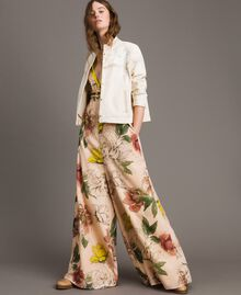 "Printed crêpe de Chine jumpsuit All Over ""Shell"" Beige Flower Print Woman 191MT2214-0T"