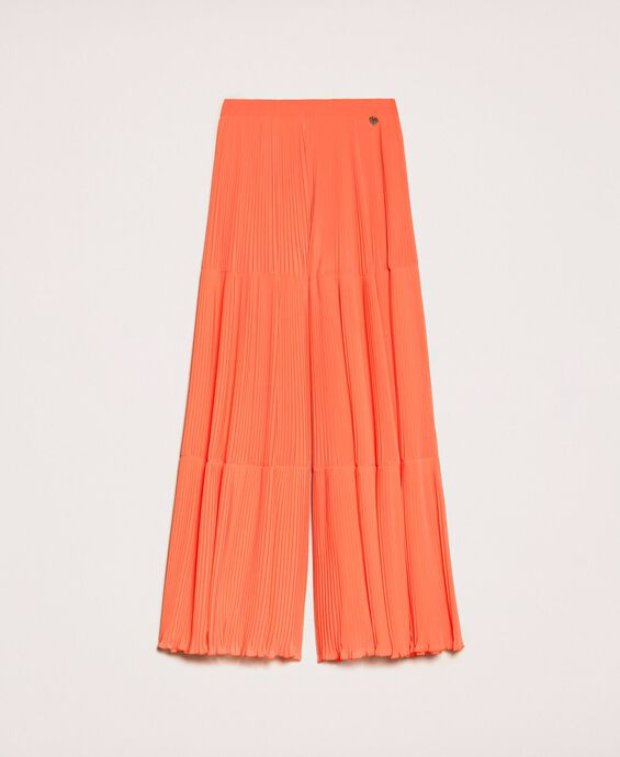 Pleated georgette trousers