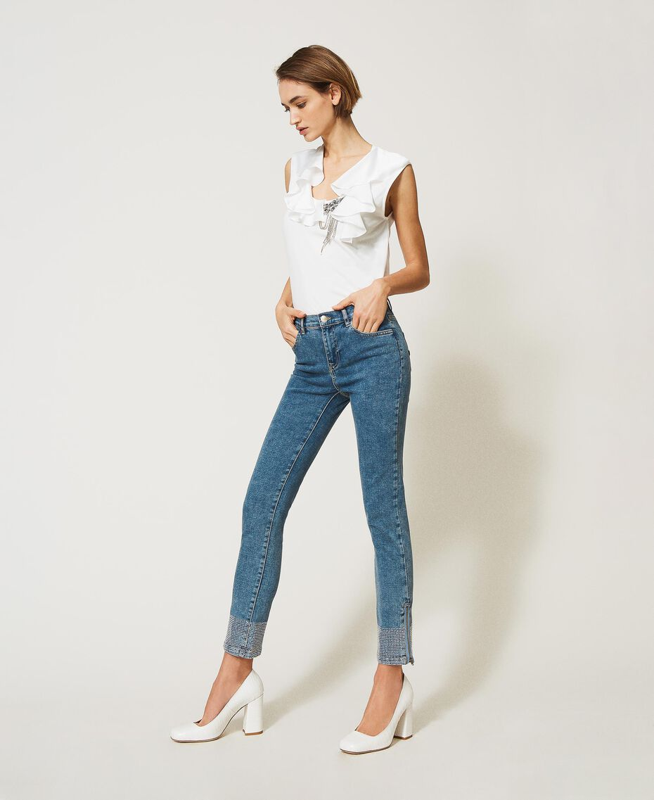 Push up jeans with studs Light Denim Woman 202MP2192-03