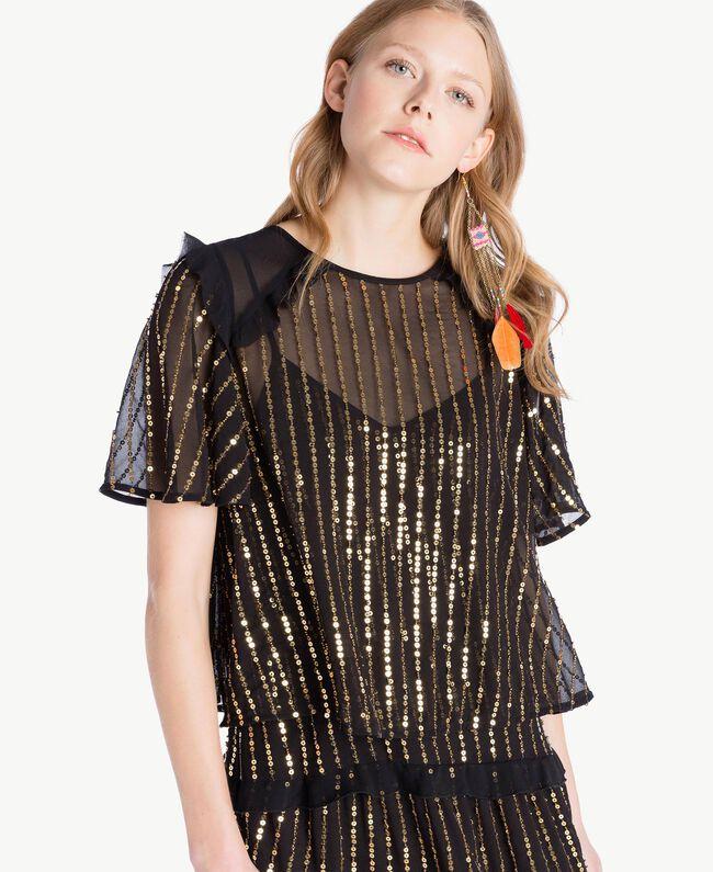 Kleid und Bluse mit Pailletten Schwarz Frau TS82WP-04