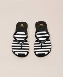 Striped thong sandals with wedge Two-tone Black / Optical White Woman 201LMPZWW-04