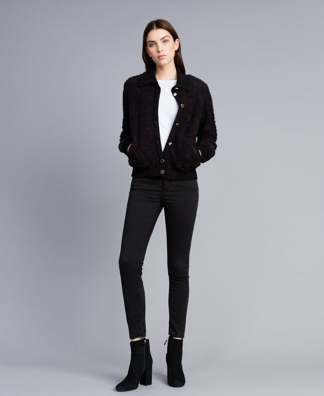 Wool blend bouclé bomber jacket Black Woman IA87DD-03