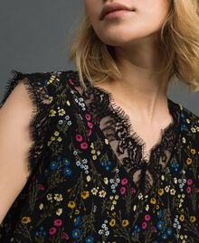 Floral print top with lace Black Micro flower Print Woman 192MP222A-04